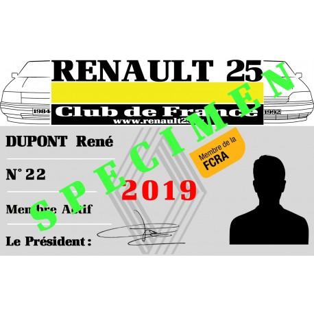 Adhésion Renault 25 Club de France